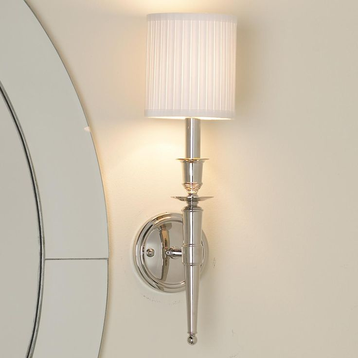 Wall Sconces With Drum Shade : Long Arm Classic Connection Sconce - 1 Light Classic style, Drum shade and Polished nickel