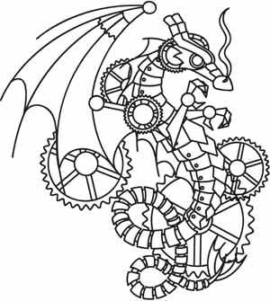 "Steampunk Wyvern design (UTH3309) from UrbanThreads.com 5.87""w x 6.54""h"