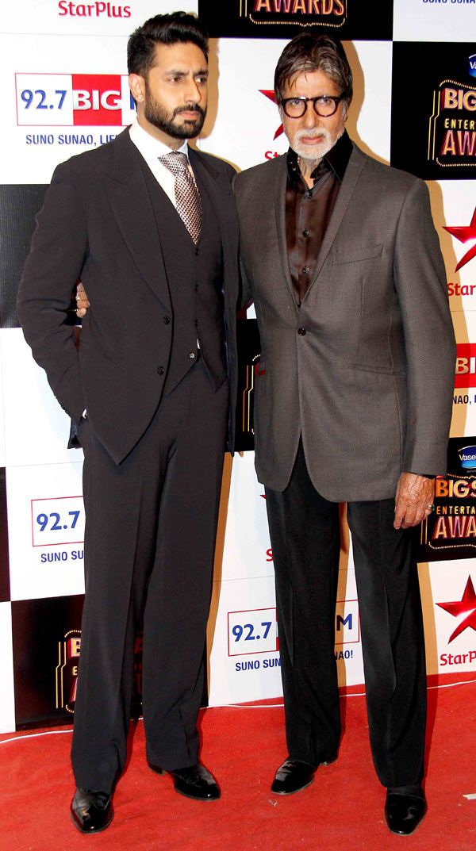 Amitabh Bachchan and Abhishek Bachchan at the Big Star Entertainment Awards 2014. #Bollywood #Fashion #Style #Handsome