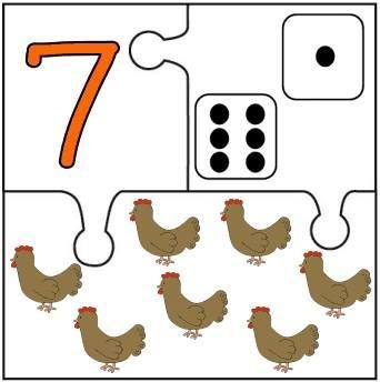 Puzzles descargables para relacionar números y cantidad. Mírame y aprenderás en Facebook