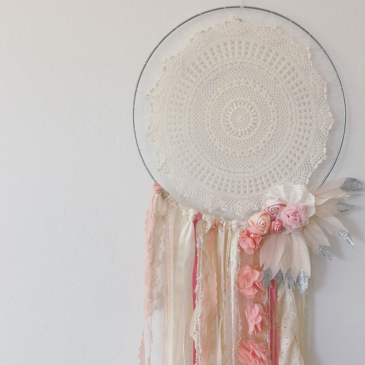 Dream Catcher  Princess dream catcher with glitter painted feathers