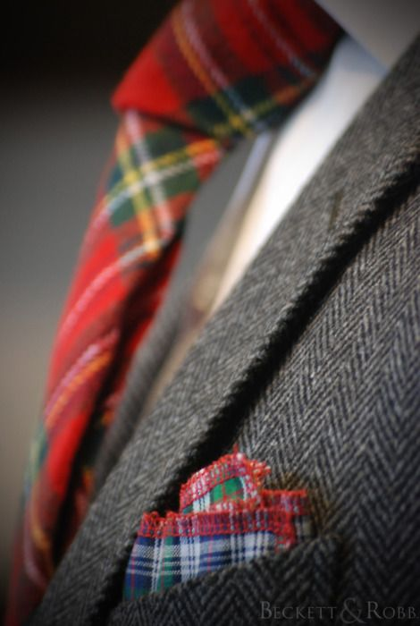 "Mr. T would wear the tartan tie w/ the  Harris Tweed Jacket, he has, but forget the ""hankie""...no can do. Love the look"