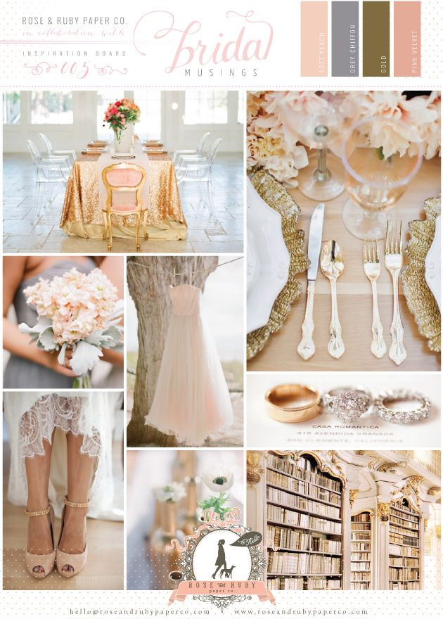 SOFT PEACH, GREY CHIFFON & GOLD WEDDING INSPIRATION    So in love with soft peachy tones pared with delicate greys and it looks like this palette is set to be as popular as ever this year for weddings.    We love soft peaches in the studio as these tones are the perfect backdrop for beautiful gold accents and pretty detailing. Think luxe textures like chiffons, velvets and sequins!