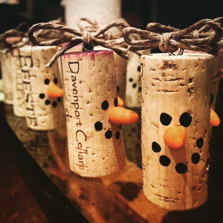 champagne cork craft ideas cork snowmen ornaments or wine charms or decor 3517