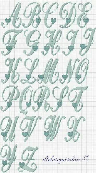Alfabeto con cuoricino punto croce