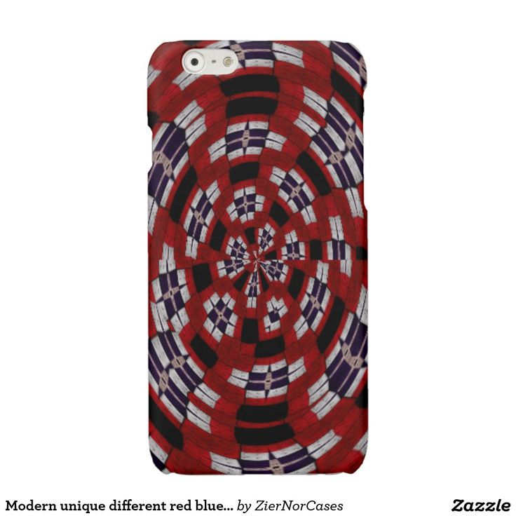 Modern unique different red blue white pattern glossy iPhone 6 case