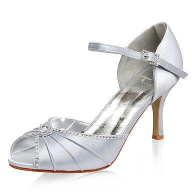 Top Quality Satin Upper Stiletto Heel Peep Toe With Rhinestone Fashion Shoes  USD $ 59.99 |Fashion Design Shoes|