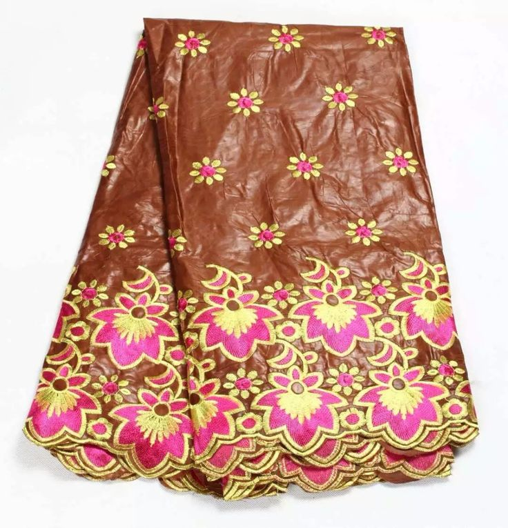 (5yards/lot)Brown bazin getzner with gold&pink embroidery flowers cheap price for african couple  (Nov-03-2016)