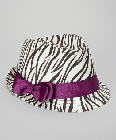 Take a look at this White & Purple Zebra Fedora by Charla's Place on #zulily today!