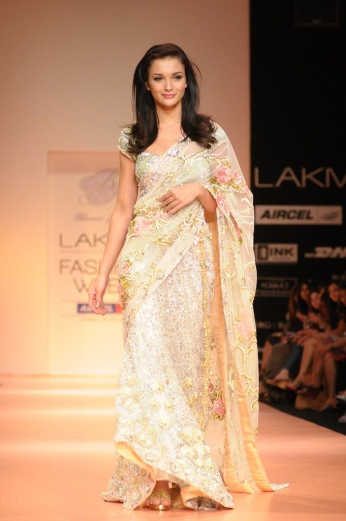 champagne chantilly lace sari - Google Search