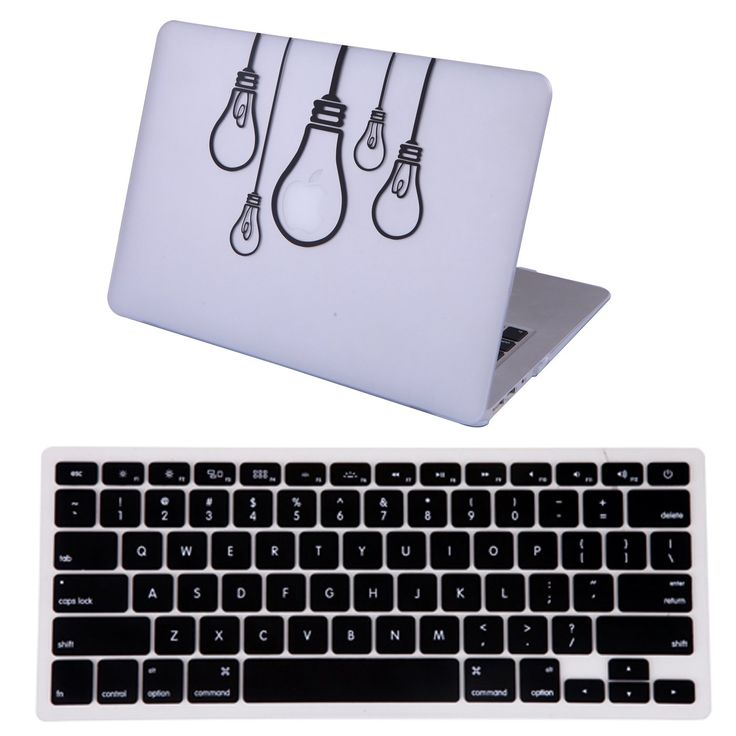 """Amazon.com: HDE MacBook Air 13"""" Case Hard Shell Cover Designer Art Pattern + Keyboard Skin - Fits Model A1369 / A1466 (Black Vector Waves): Computers & Accessories"""