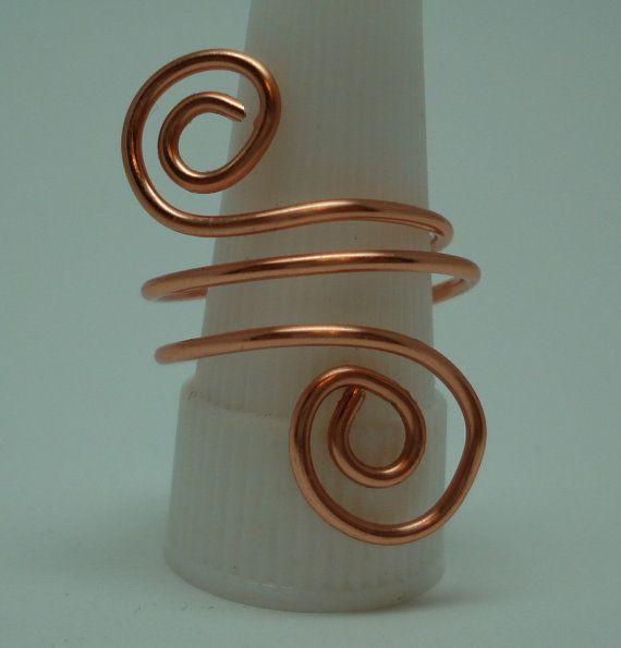 Make Copper Napkin Ring | Triple Wrap Copper Swirl Ring Makes nice napkin rings also, add beads ...