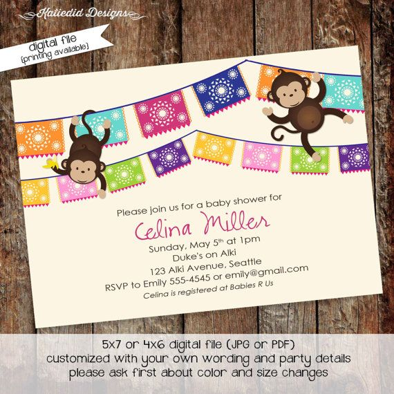 Monkey Baby Shower Invitation Fiesta Papel Picado Mexican Gender Reveal  Couples Diaper Baby Sprinkle (item 1452) Shabby Chic Invitations