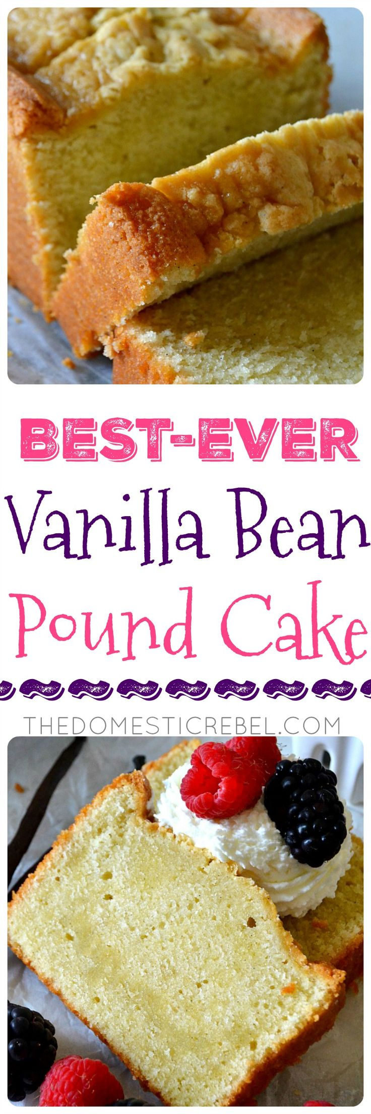 This Vanilla Bean Pound Cake is the BEST pound cake recipe! Moist, buttery, fluffy & tender pound cake swirled with fresh vanilla bean flecks for a super flavorful, outstandingly EASY cake recipe! Serve with fresh whipped cream & fruit or cube it for a trifle!