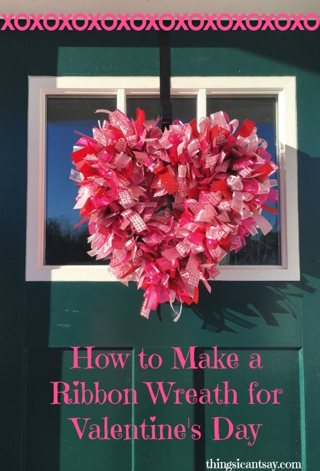 You need ribbon, a wire wreath, and the ability to tie bows to make this Valentine's wreath: super easy! How to make a ribbon wreath.