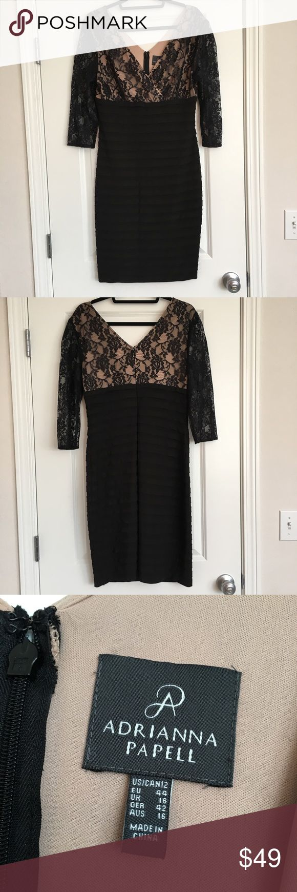 Adrianna Papell Special Occasion Dress Nude top with lace overlay and black tiered bottom with slight gold shimmer. Nice stretchy material for comfort. Such a gorgeous dress. Adrianna Papell Dresses