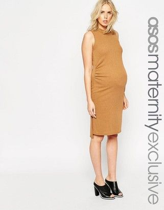 ASOS MATERNITY ASOS Materntiy Rib Body-Conscious Dress With High Neck - Shop for women's Dress - camel