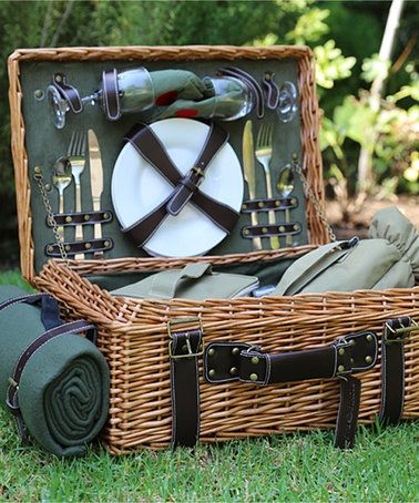 Love this Green English Willow Picnic Basket Set on #zulily! #zulilyfinds