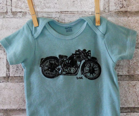 Motorcycle baby onesie baby boy bodysuit great by CausticThreads, $14.00