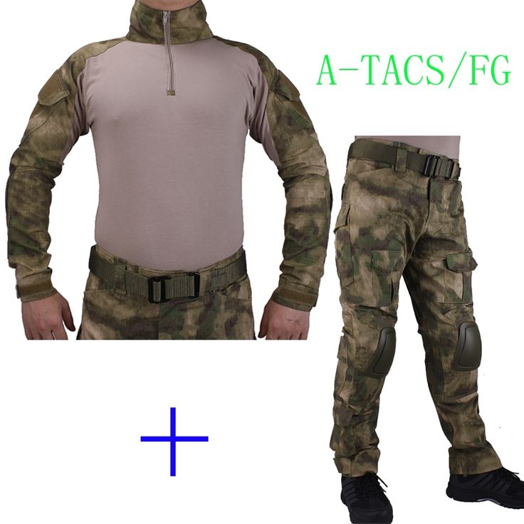 59.84$  Watch now - http://alib69.worldwells.pw/go.php?t=32749801882 - Hunting Camouflage BDU AT-FG Combat uniform shirt met Broek en Elbow & KneePads militaire cosplay uniform ghilliekostuum jacht