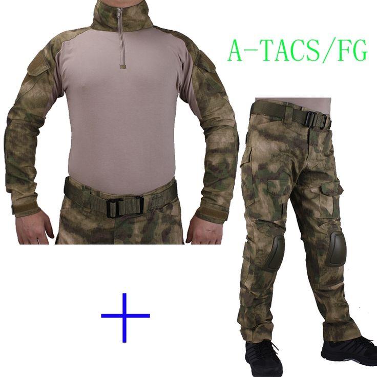 59.84$  Watch now - http://alib69.worldwells.pw/go.php?t=32749801882 - Hunting Camouflage BDU AT-FG Combat uniform shirt met Broek en Elbow & KneePads militaire cosplay uniform ghilliekostuum jacht