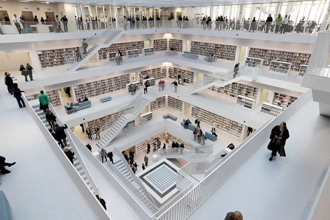 Stuttgart City Library. A monolithic cube with two floors underground and nine above. Designed by Korean architect Eun Young Yi. Stuttgart, Germany.