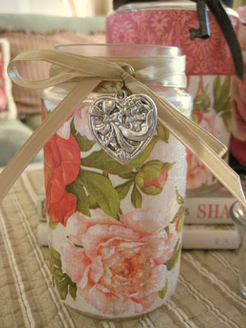 Decoupaging Floral Wrapping Paper Or Napkins Onto Glass
