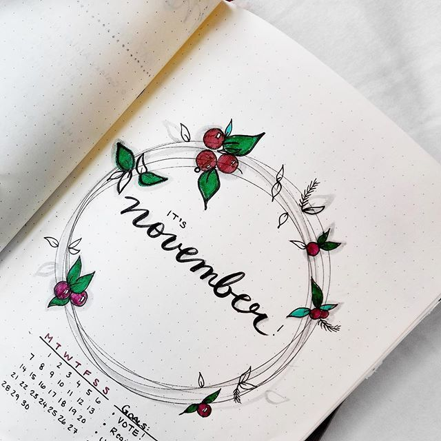 It's officially November! Here's a little single page doodle I did in my bullet journal that also includes a calendar and some monthly goals for myself. Today is the first day I was able to enjoy a peppermint mocha at Starbucks which, I'm not sorry, I like a lot more than pumpkin spice. What do you have planned for yourself this month? . .. ... .. . #november #november2016 #novemberchallenge #bulletjournal #bulletjournaling #bulletjournaljunkies #bulletjournallove #bujo #bujojunkies…