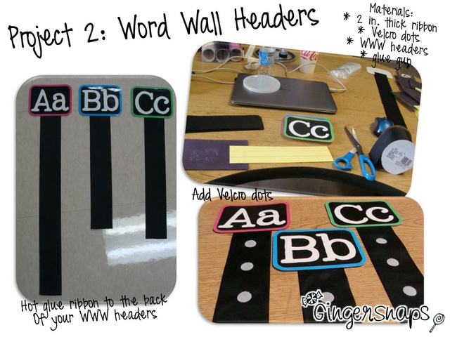 Displaying word wall words. Or math problems. Have numbers instead of letters. Shuffle cards of math problems and give to students to place on the correct ribbon.