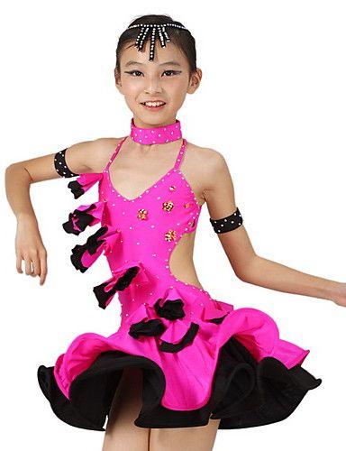 Performance Kids' Spandex Crytstal Ruffle Sequin Latin Dance Dress