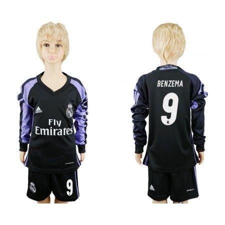 Real Madrid Fotbollskläder Barn 16-17 #Benzema 9 TRödjeställ Långärmad,275,98KR,shirtshopservice@gmail.com