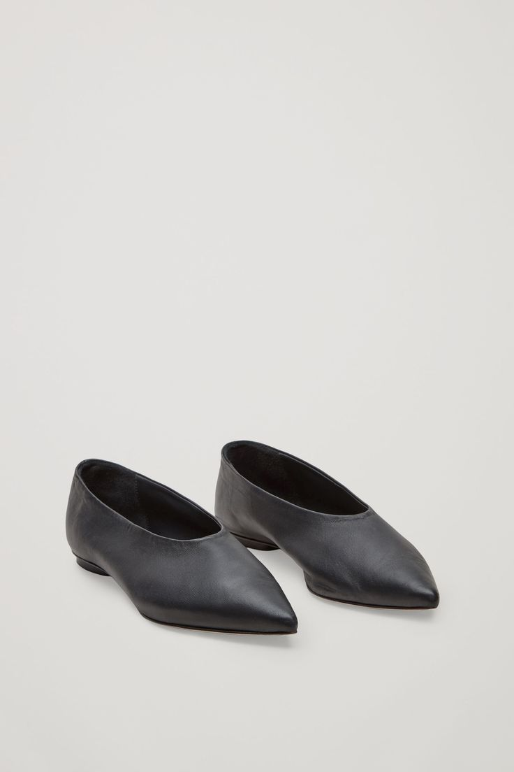 COS image 2 of Pointed slip-on shoes in Black