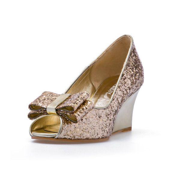 Ashley Gold Glitter Wedges Wedding Shoes BridalWedges Garden Beach Bridal