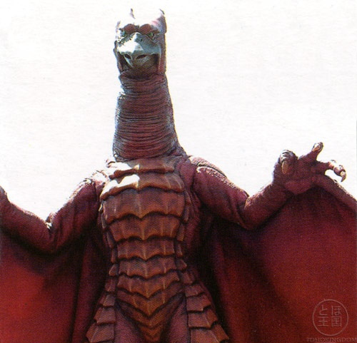 Rodan is noticeably proportionally much smaller compared to Godzilla than in his appearances in the Showa series, standing only about two-thirds as tall as Godzilla and having a wingspan not too much larger than Godzilla's height. The prominent rows of spines on his belly are replaced with overlapping ridges of bone, and he has three spines on his head instead of two (the outer two curve outwards and the center curves up), as well as a wider beak and more predatory face.