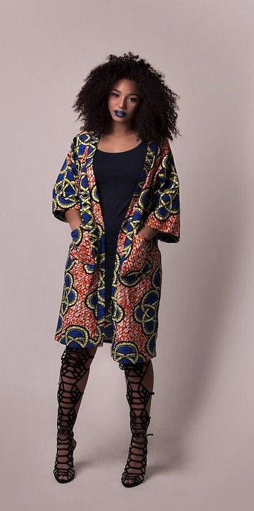 African print jacket. African print jacket mid length. Mid length jacket. Two front pockets. Ankara | Dutch wax | Kente | Kitenge | Dashiki | African print dress | African fashion | African women dresses | African prints | Nigerian style | Ghanaian fashion | Senegal fashion | Kenya fashion | Nigerian fashion (affiliate)