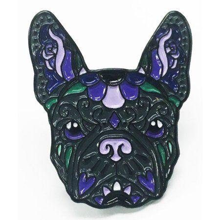 Free Shipping. Buy French Bulldog Black Purple Sugar Skull Tattoo Breed Dog Lover Enamel Lapel Pin at Walmart.com