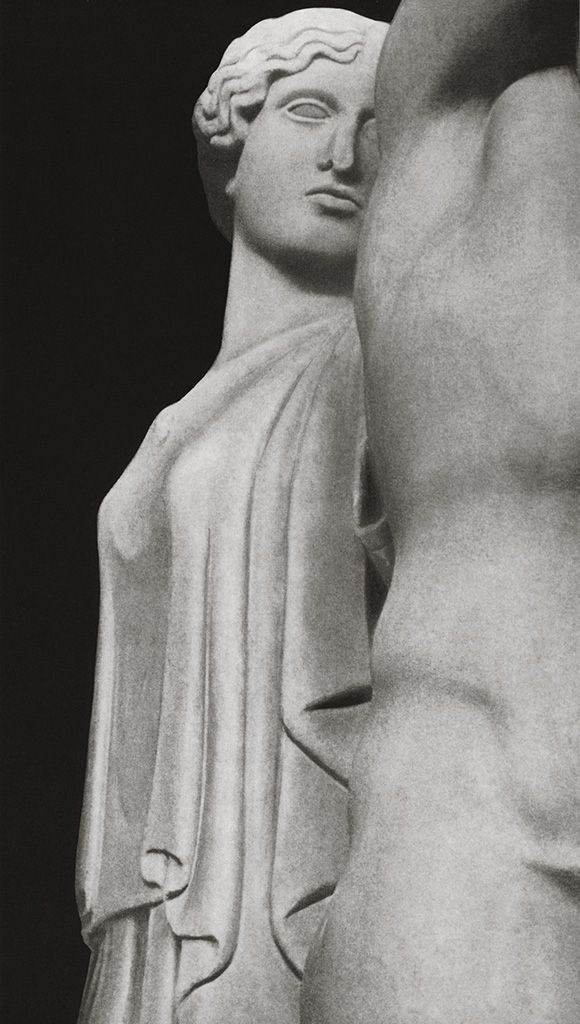 Athena, detail of metope of the Temple of Zeus at Olympia, marble, circa 5th century B.C. at the Olympia Museum