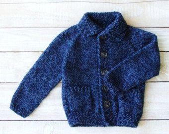 Niños suéter - mano punto azul chaqueta de punto con bolsillos de parche - niño niños ropa tamaño 2T