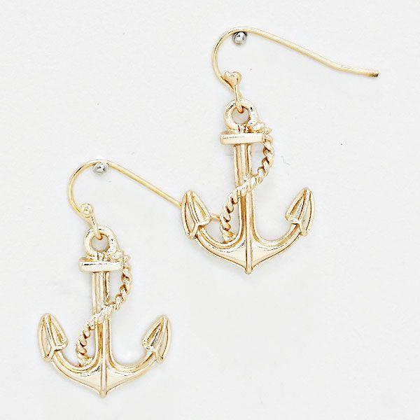 Metal Nautical Anchor Drop Earrings 233543