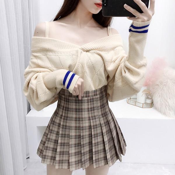 89238c984c Material: KnittingColor: top apricot, skirt khakiSize: S, MS: Length 54cm,  bust 112cm, sleeve length 57cm, skirt length 35cm, waist circumference  66cmM ...