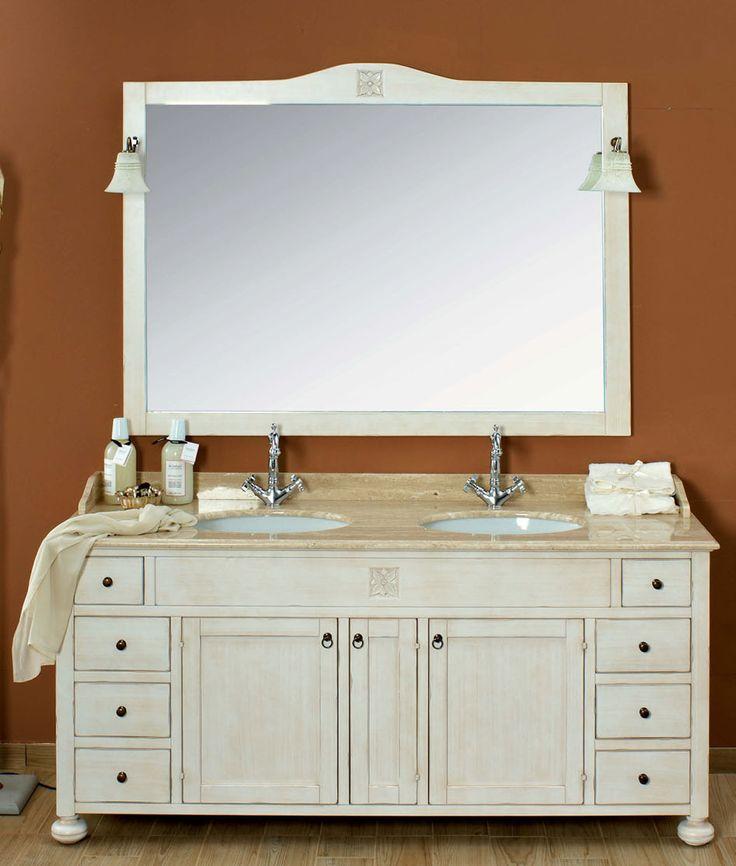 Maße:   182 x 61 x 205 cm Farbe:   Antik-Weiß / andere Farben erhältlich  Ein antik-weißer Doppelwaschtisch im italienischen Landhausstil mit einem Top aus Travertino Marmor.