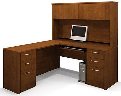 Office Furniture: Bestar Embassy L Shaped Office Desk With Hutch - Tuscany Brown Finish -> BUY IT NOW ONLY: $869.0 on eBay!