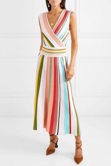 76701382eef Missoni - Wrap-effect Striped Cotton Midi Dress - Pink in 2019 ...