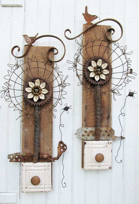 Large Assemblage Art Wall Flower on Reclaimed by SassytrashDesigns
