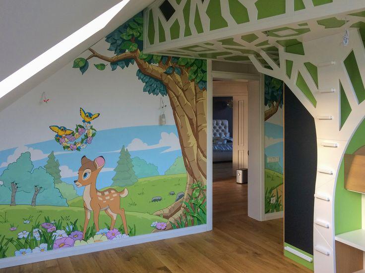 Лес по мотивам Диснея  детская комната в котедже Стрельна,Санкт-Петербург    Нефедов А.
