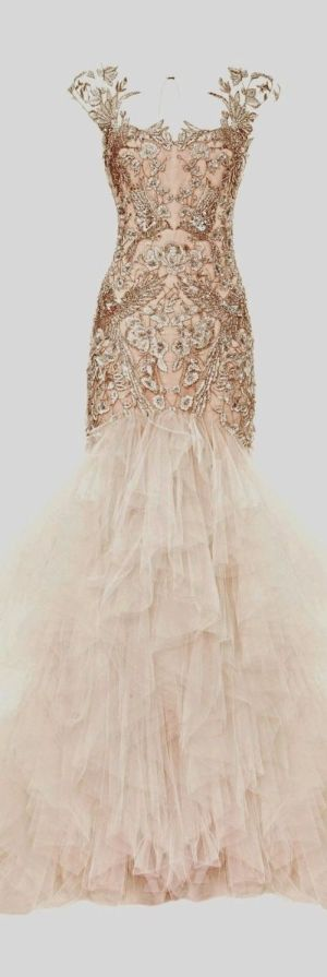 beautiful gown with metallic detail and layered tulle skirt