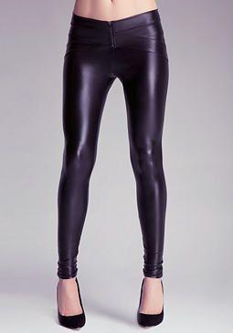 Zipper Front Wet Leggings at bebe