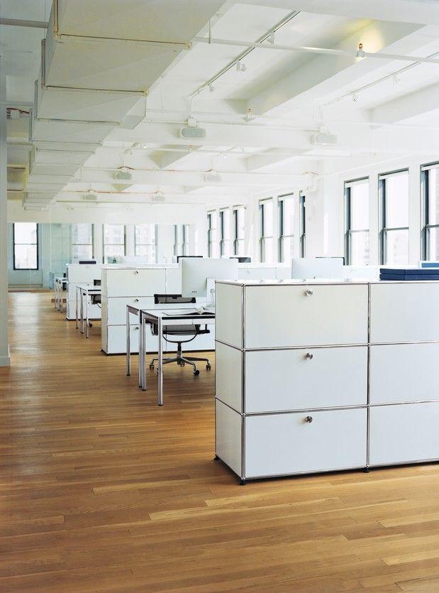 USM Haller, reinweiß, weiß, Highboard, Sideboard, Raumtrenner, Raumteiler, Großraumbüro, Büro, Arbeiten, Office,