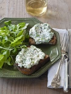 "Barefoot Contessa - Recipes - Herbed Ricotta Bruschettas (for use with her homemade ""ricotta"" recipe)"