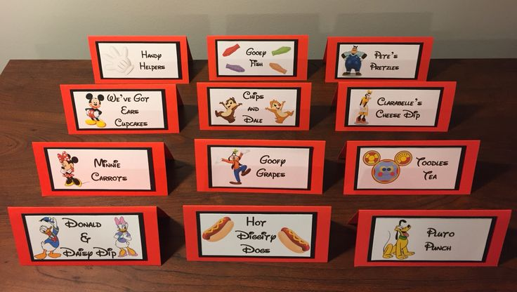 Mickey Mouse clubhouse birthday party food labels